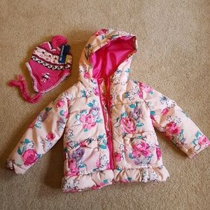 Toddler Girls coat size 2T and NEW hat size 2